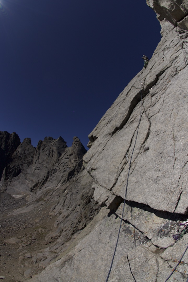 Paul Kimbrough on the second pitch of Brass Monkey (III 5.12c) during a 2015 free attempt. Brandon Gust first spotted the line in 2012, and he and Kimbrough spent four years working and cleaning the route before completing it in the summer of 2017.
