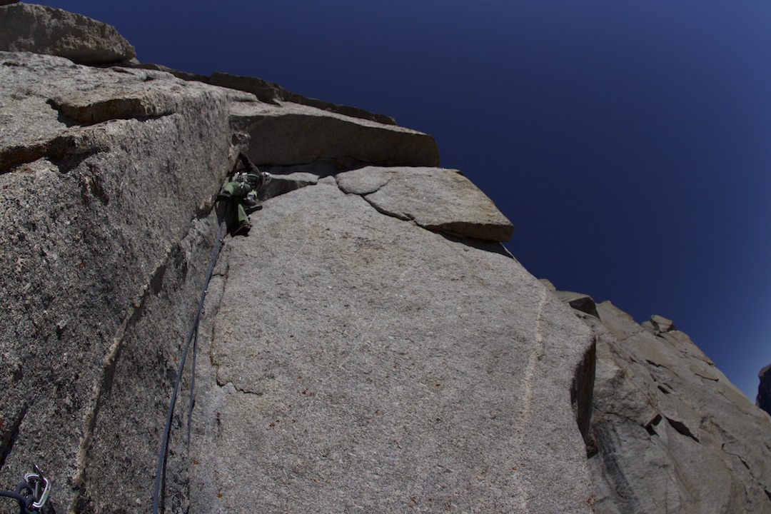 Paul Kimbrough on the crux pitch of Brass Monkey (III 5.12c) in 2015.