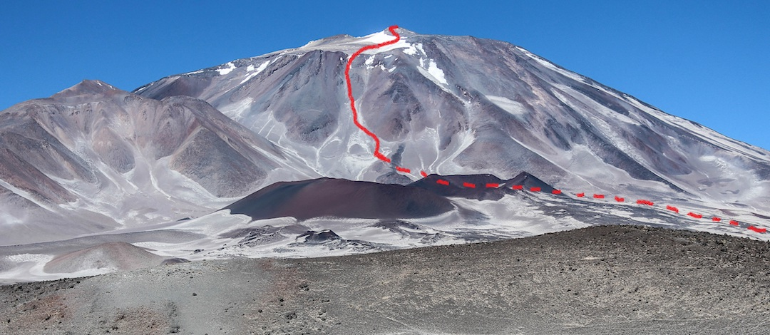 New route on the northeast side of Incahuasi, climbed in January 2018.