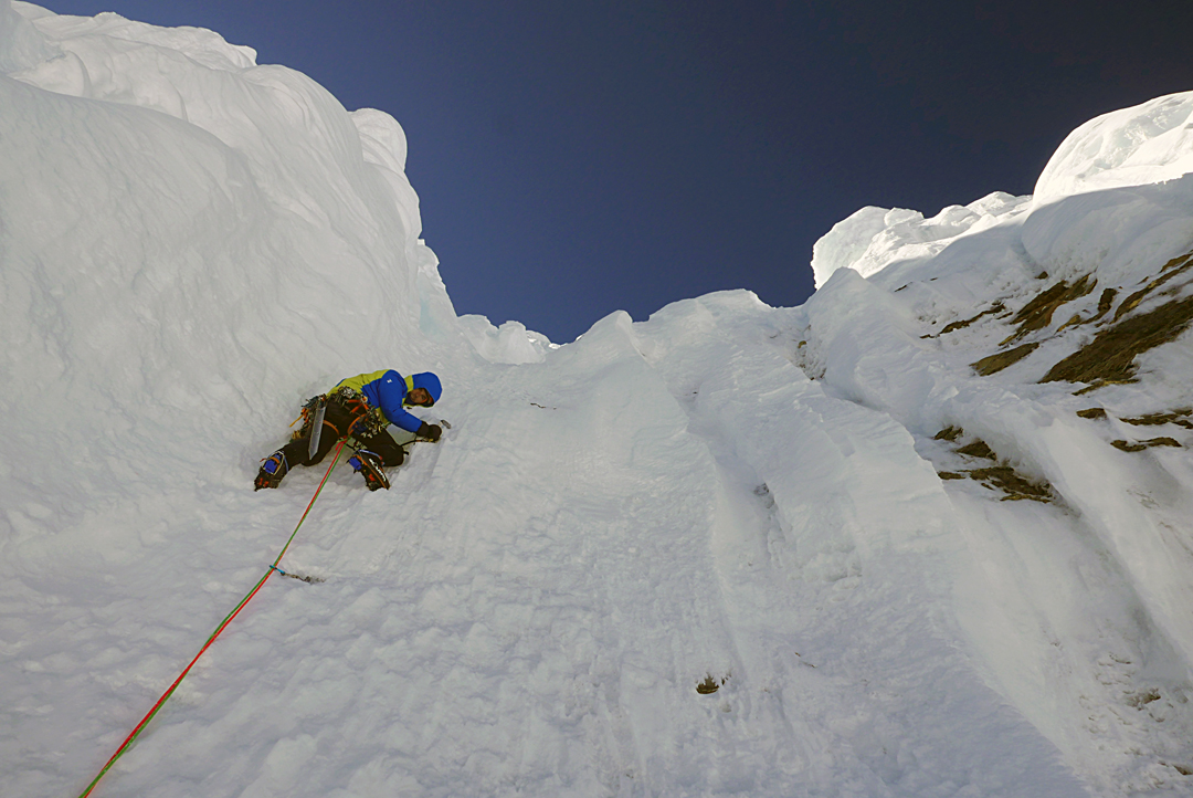Benjamin Védrines at about 6,600m on the northeast face of Pandra, climbing one of the last ice pitches (WI4+) below the summit.