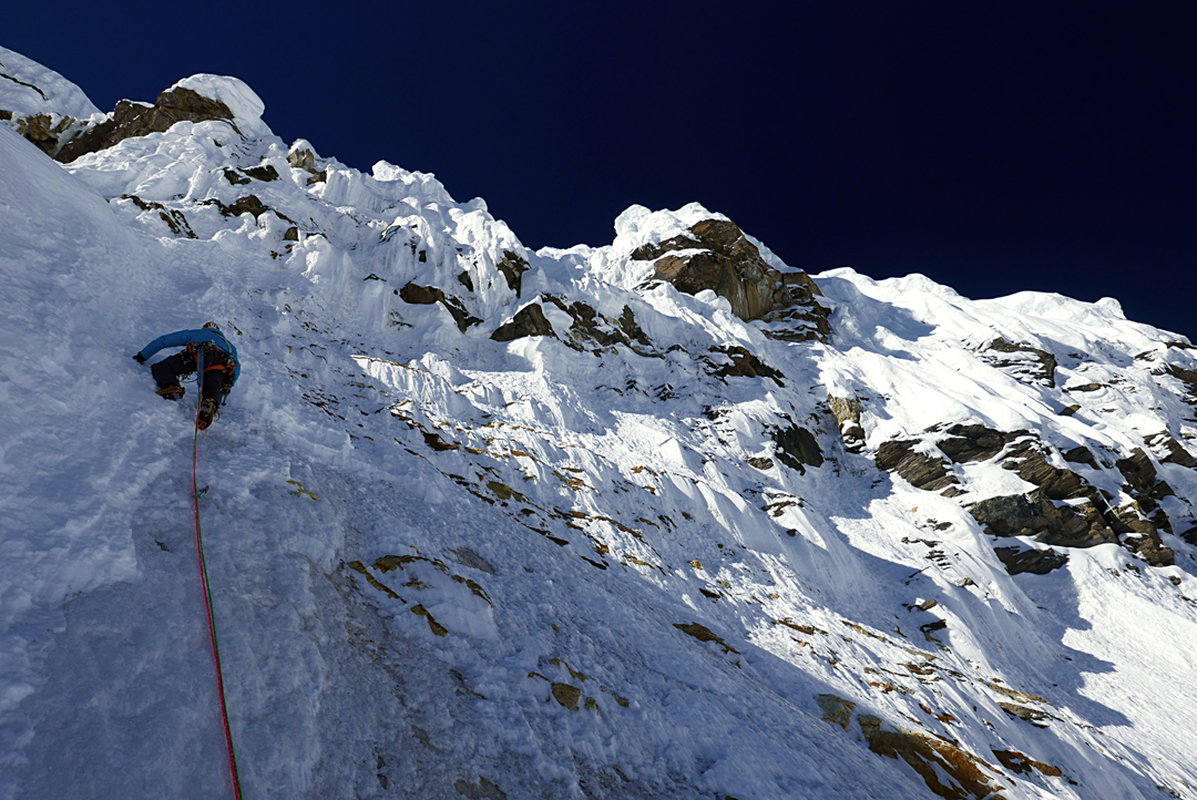 Pierre Labbre before the final wall on the last day of the ascent of Pandra's northeast face.