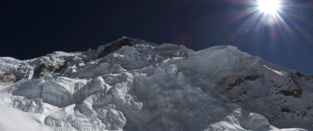 The convoluted icefall negotiated by the two Russians during their descent from the summit of Phungi.
