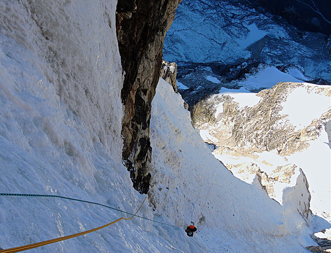 Alexey Lonchinsky in the narrows above the first bivouac on the southeast face of Phungi.