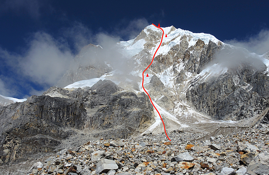 The southeast face of Phungi. Bivouacs are marked.