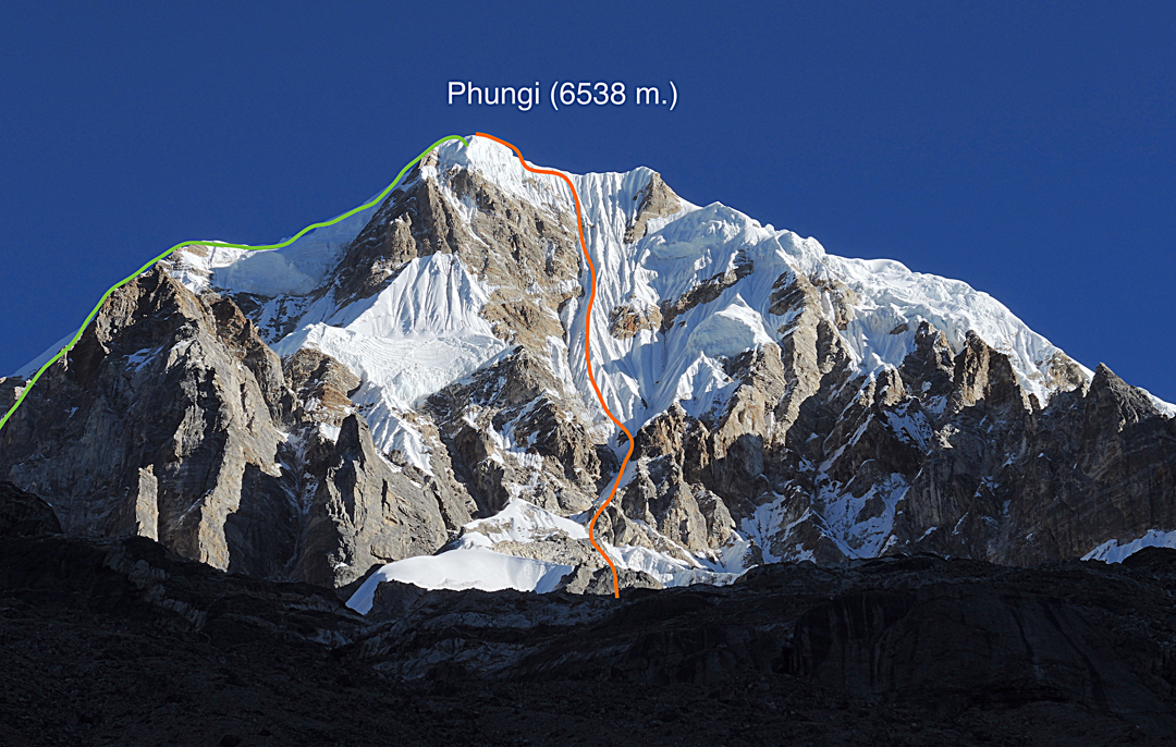 The southeast face of Phungi showing the route of ascent on the southeast face and (to the left) the west ridge and southwest face descent.