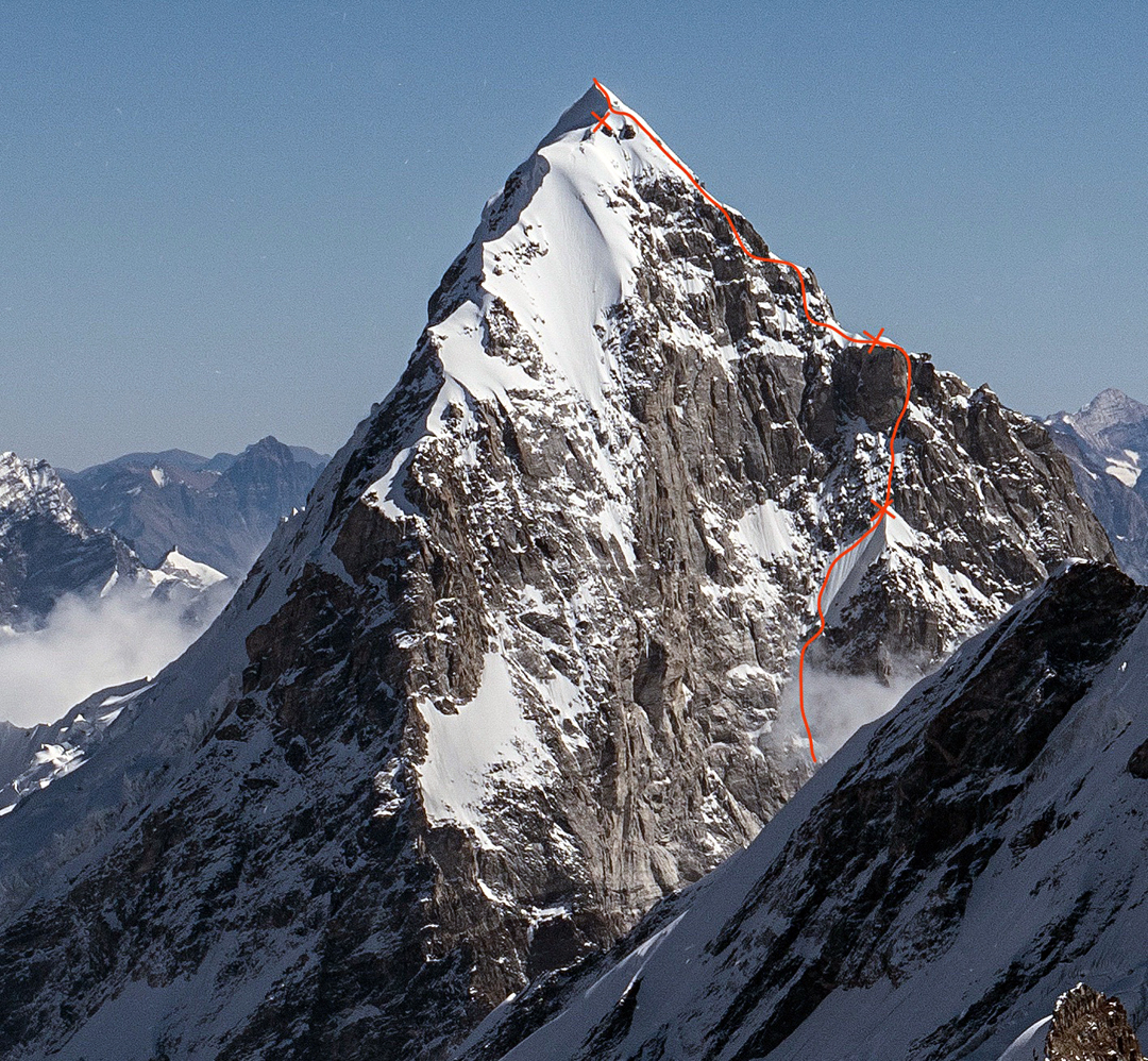 Nilkanth (6,596m) from the west, showing the upper part of Obscured Perception, a 1,400-meter route climbed over five days. Bypassing the prominent rock buttress on the right, the Castle, on day three was the crux of the climb. The west ridge, first climbed in 2000 and descended by the 2017 team, faces the camera.