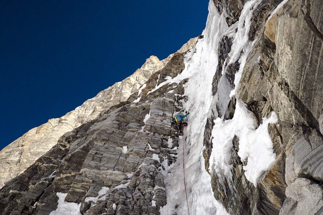 Anne Gilbert Chase leading one of the many fine ice pitches during the first ascent of the southwest face of Nilkanth.