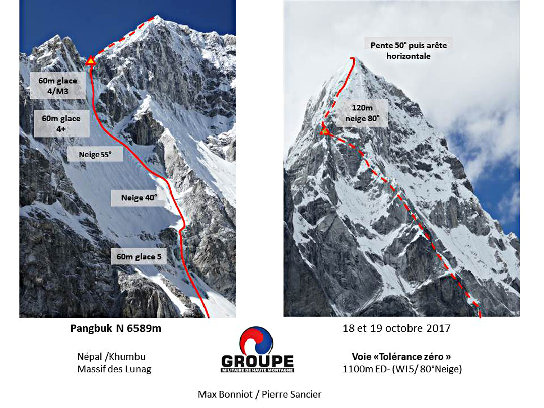 Photo topo of the new route Tolérance Zéro on Pangbuk North.