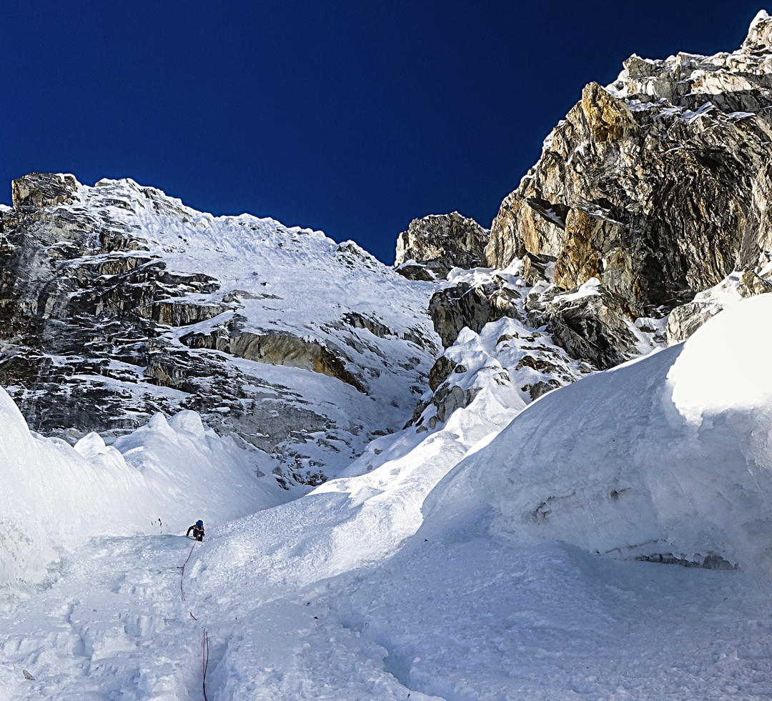 Max Bonniot on the lower section of the northeast face of Pangbuk North.