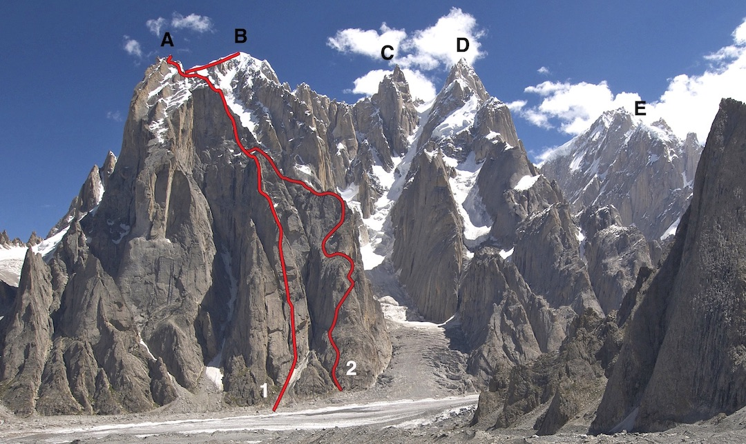 K7 group showing (A) Badal Peak, (B) K7 West, (C) K7 Central, (D) K7 Main, and (E) Link Sar massif. Route 2 shows Japanese climb to Badal Peak in 2014. Route 1 shows 2017 route to Badal Peak and continuation to K7 West (much of the upper traverse is hidden). Other routes and attempts not shown.