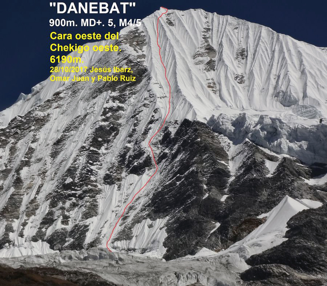Chekigo Sano and the Spanish line of Danebat (2017), probably the first route up the west face.