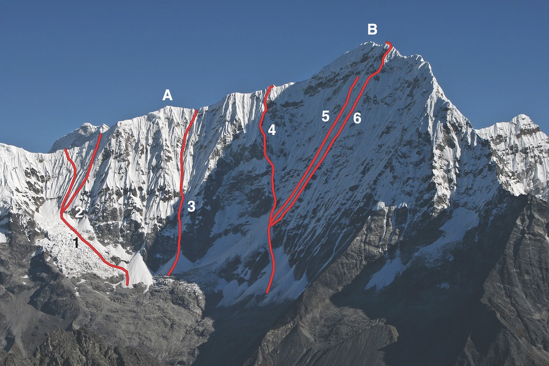 Kang Nachugo from the south. (A) Bamongo (6,400m). (B) Main summit (6,737m). (1) West Ridge (2008). (2) Che Guevara (Chinese-Nepalese, 2013, to Bamongo). (3) Tick Chha (Spanish, 2017). (4) Japanese Route (2016, continued to summit). (5) Gottlieb-Puryear 2008 attempt. (6) Monsoon (Kastelic-Padros, 2013) to southeast ridge but not to summit.