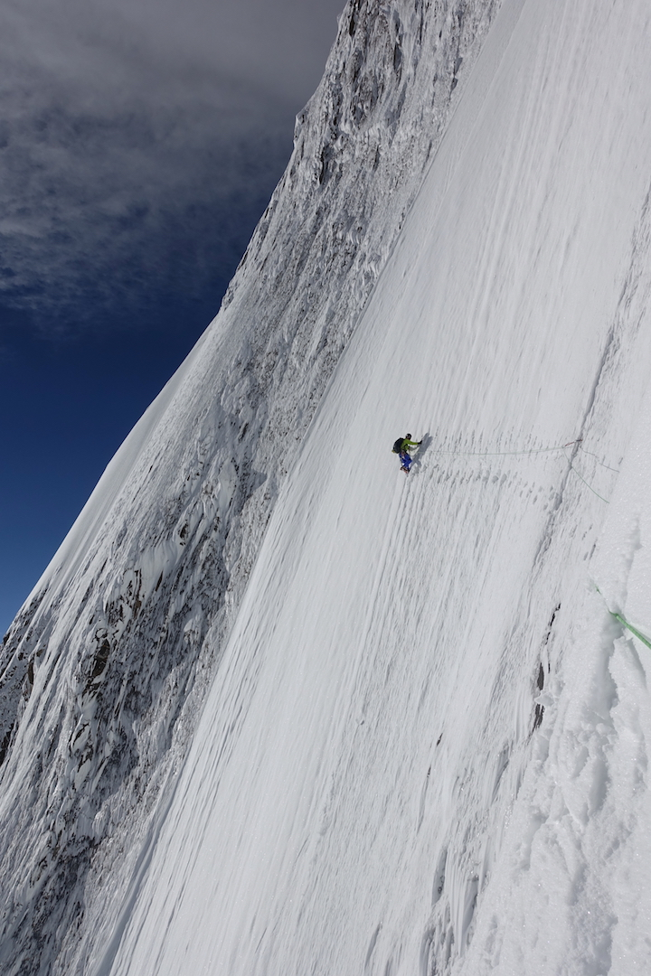 Day three: Kenro Nakajima traverses steep ice toward the route's crux at about 6,500 meters: a 60° wall of thin ice and mixed that gave access to the upper ice slopes.