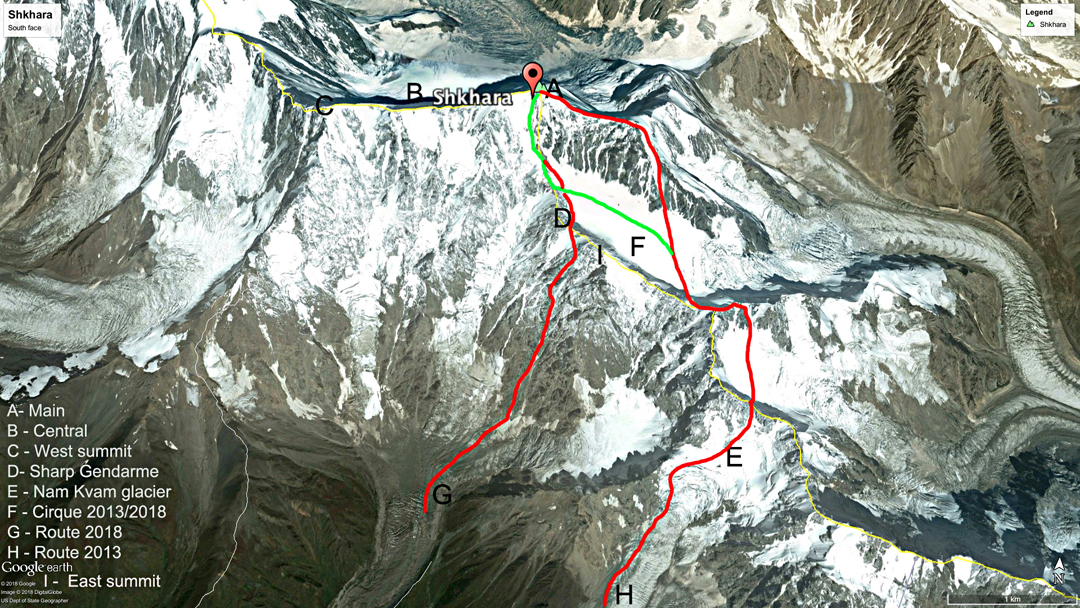 A Google Earth view of the south side of Shkhara. The left-hand red line (G) is the route used for the first winter ascent from Georgia (2018). The right-hand red line (H) is an older route that was repeated by Archil Badriashvili and team in 2013. The green line is the upper section of the Gvalia Route, while the yellow line marks the frontier ridge between Georgia (to the south) and Russia.