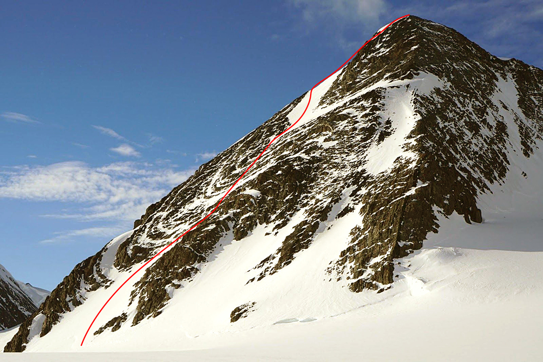 West Pyramid in the Larson Valley with the new route, Infinite Curves, on the south face. The descent was behind the left skyline, more or less following the route of the first ascent in 2012.