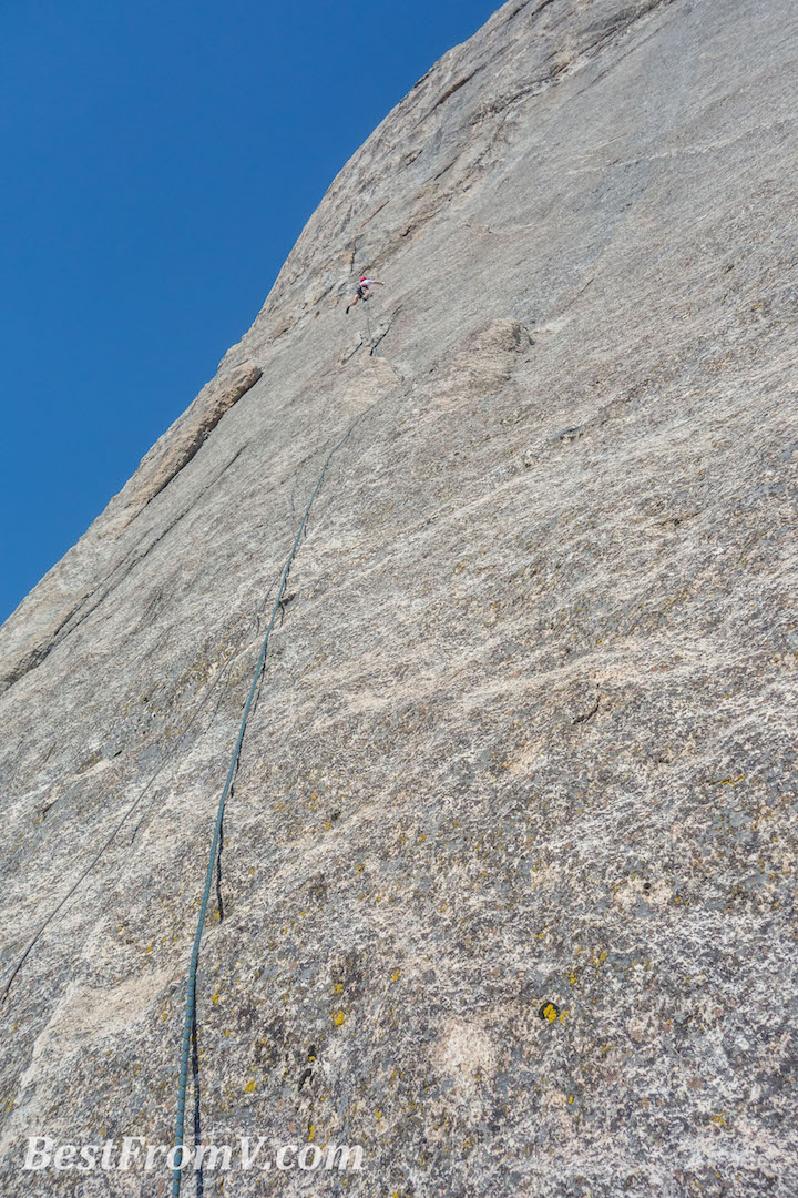 Chaz Langelier climbing perfect granite on he Vitaliy Musiyenko's new route Tainted Love (IV 5.11a R/X) on the west face of the Fin, one of the prominent formations of Castle Rocks, in Sequoia National Park. Musiyenko is planning on returning to add more bolts to the climb to make it a safer route.