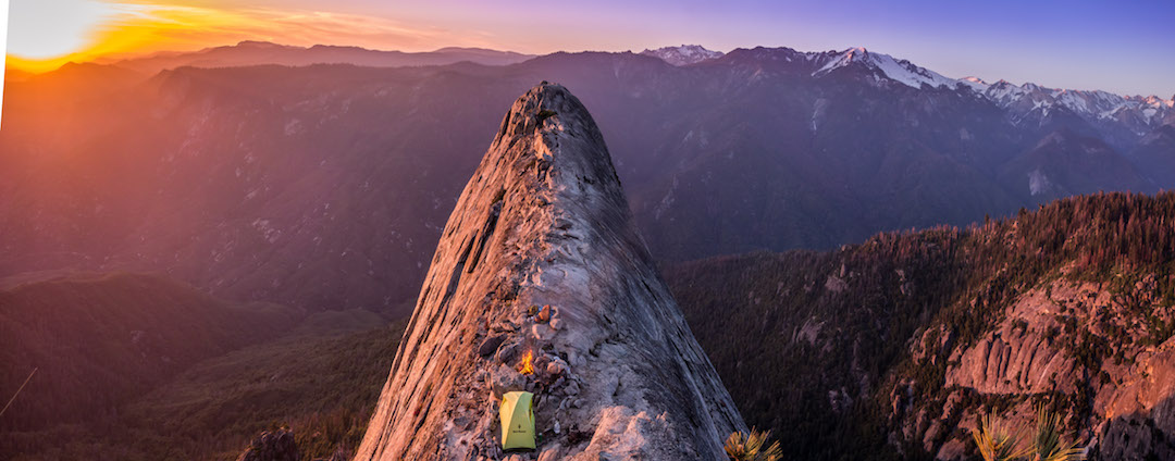 A scenic sunset camp on top of the Fin, in Castle Rocks of Sequoia National Park.