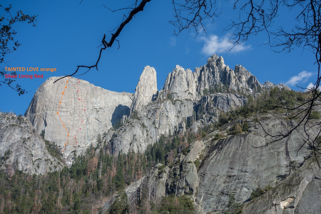The Castle Rocks massif, in Sequoia National Park, showing the line of Tainted Love (IV 5.11a R/X) on the west face of the Fin, climbed by Vitaliy Musiyenko and Chaz Langelier in the spring of 2017. Silver Lining (IV 5.10a R, Laeger-Laeger-Carson, 1985) is also shown.