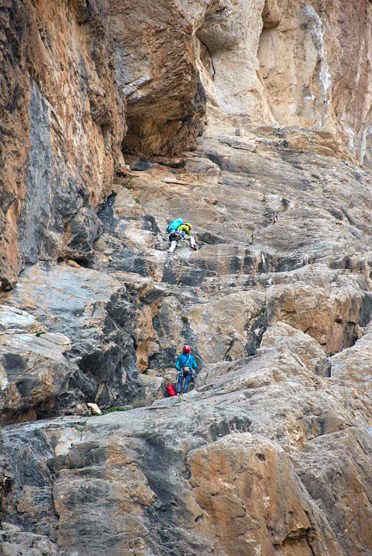 Belayed by Christina Pogacean, Cosmin Andron leads pitch three (30m, 5c) of Monkey Business, Karnak Gorge.
