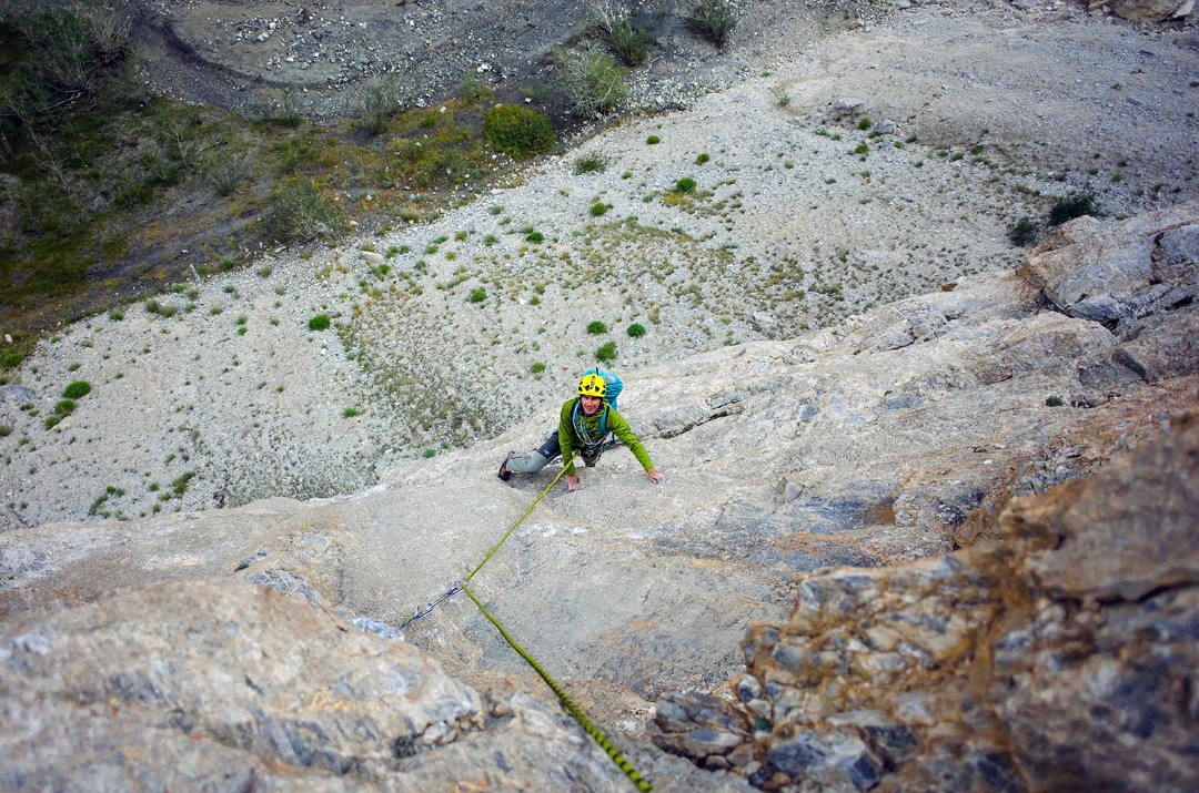 Cosmin Andron follows pitch one (40m, 6a) of Monkey Business, Karnak Gorge, Ladakh.