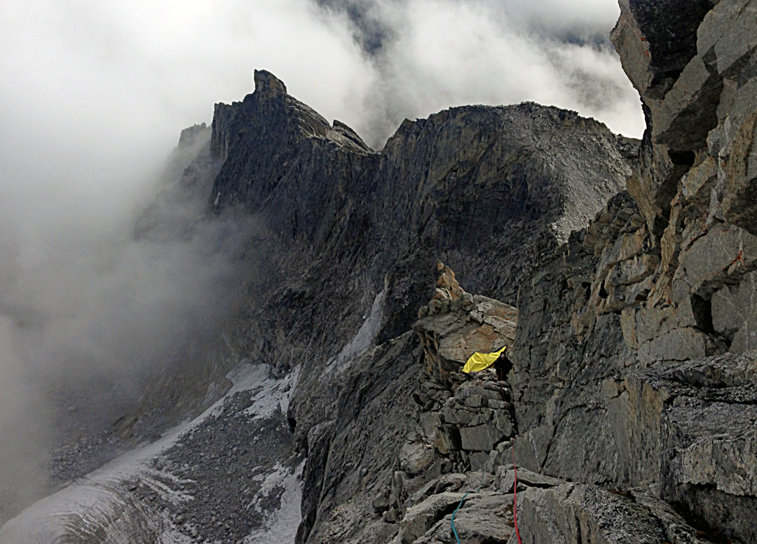 Looking down toward a bivouac site from high on the east ridge of Kemailong.