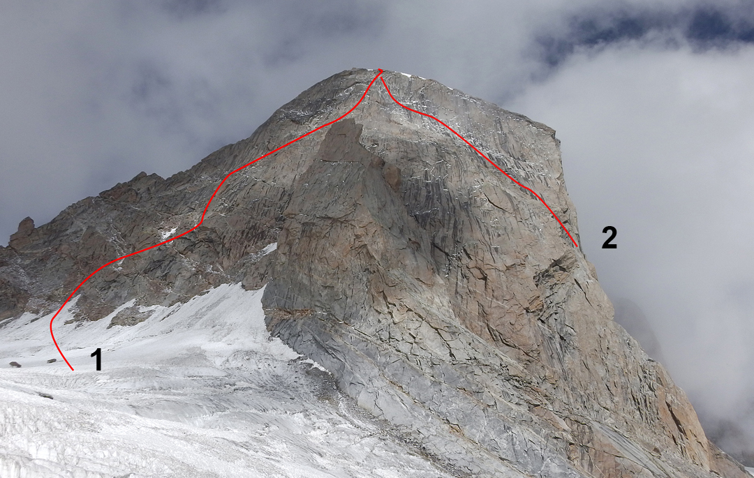 The south side of Lotos Peak from the Takdung Glacier. (1) 2015 French route. (2) Splitter and Storm (2014).