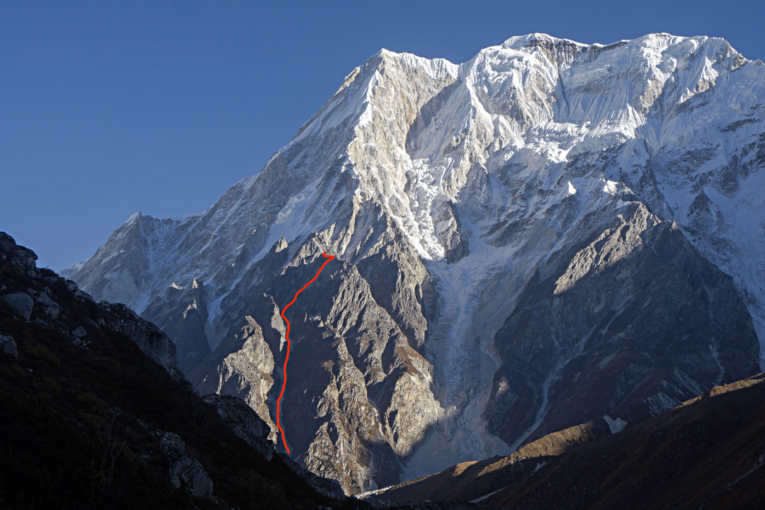 The south ridge of Panbari showing the attempted line and high point of the American and French teams. The summit of Panbari (6,905m) is the more rounded top to the right of the top of the south ridge.