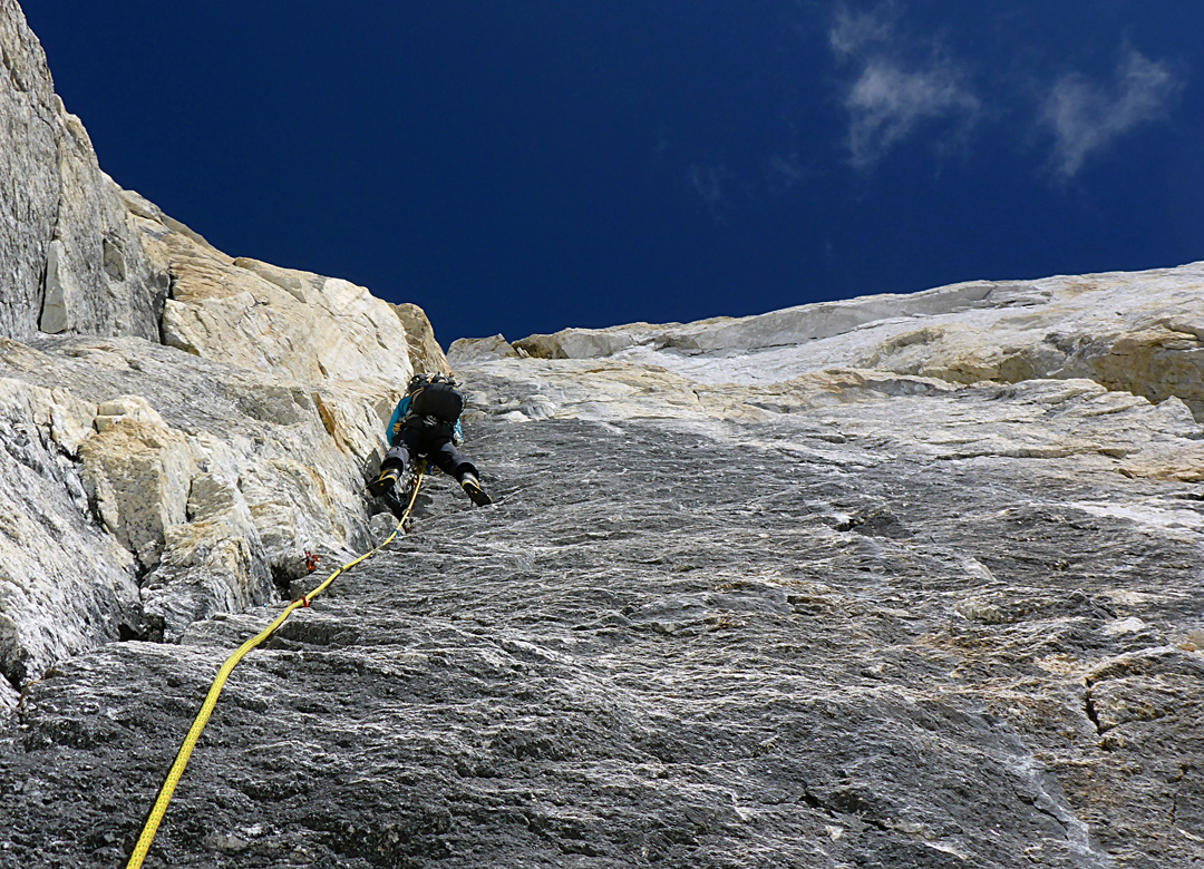 The big corner system high on the headwall of the Georgian Route on the southeast face of Larkya Peak.