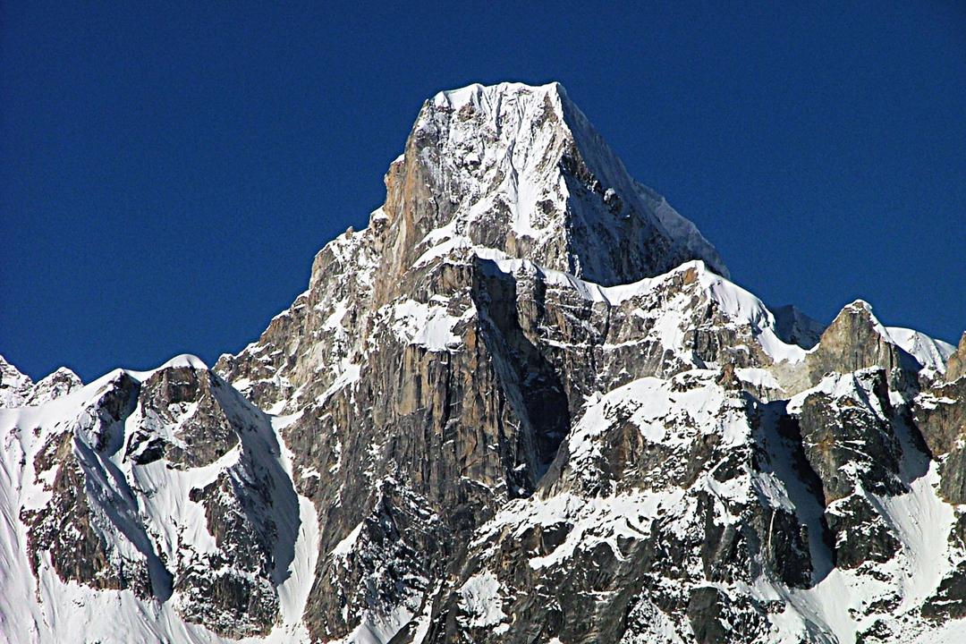 Larkya Peak from the Manaslu Circuit trek to the northeast.