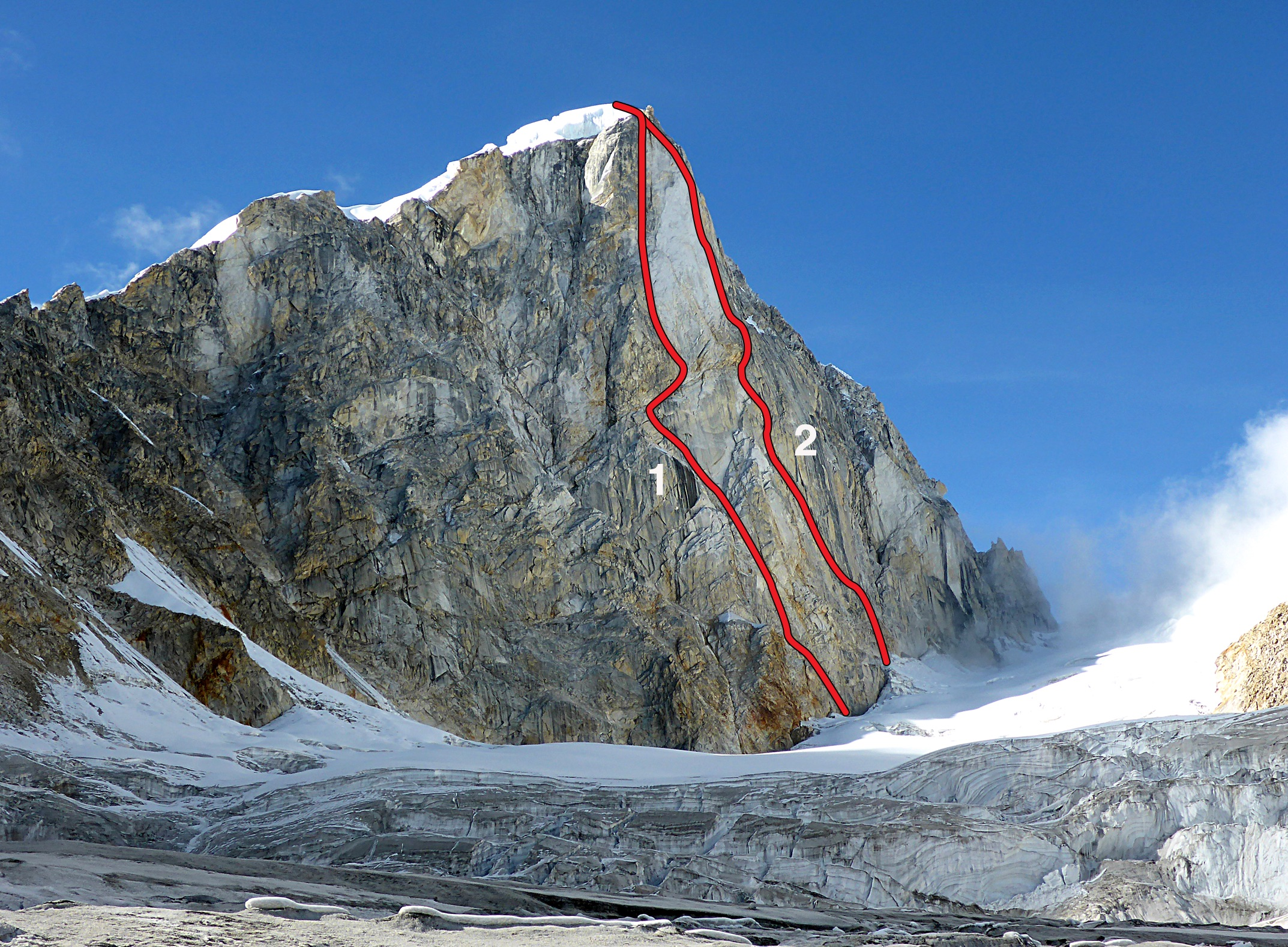 The southeast face of Larkya Peak (6,416m), showing the approximate lines of (1) Georgian Route, the first ascent of the peak, and (2) Directa Ecuatoriana. Both routes were climbed in autumn of 2017.