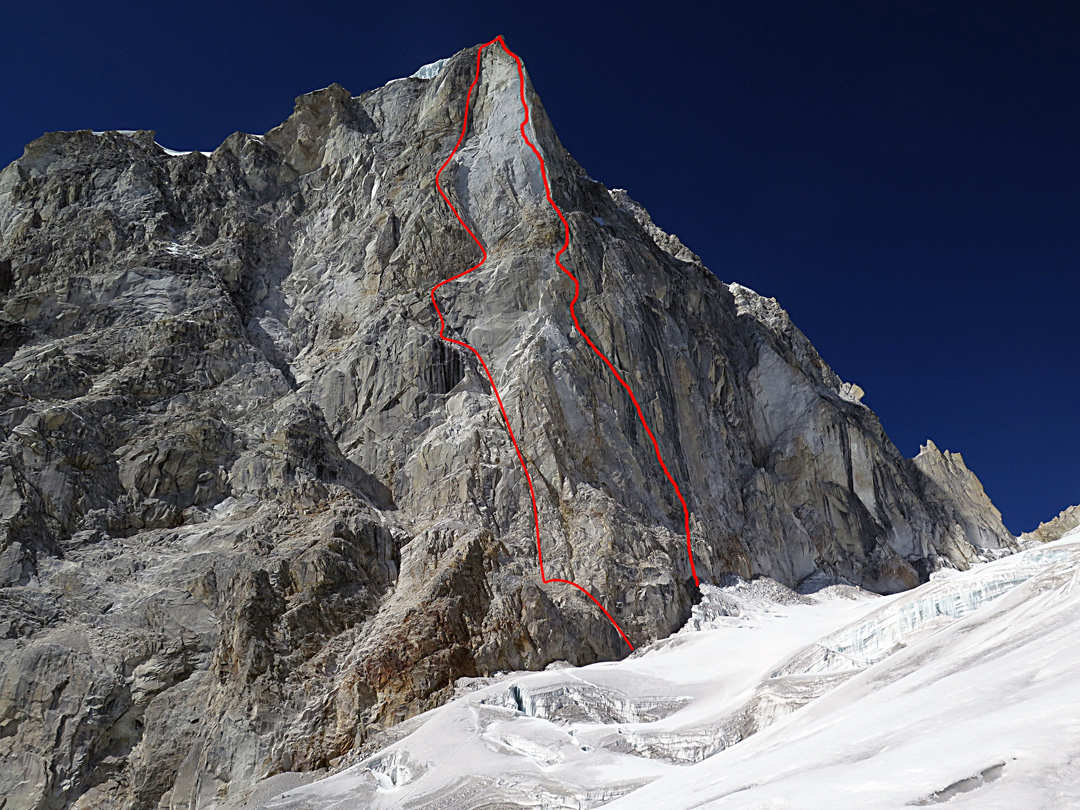 The southeast face of Larkya Peak (6,416m) with the approximate line of the Georgian Route (left) and Directa Ecuatoriana, both climbed in the autumn of 2017.