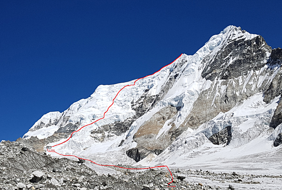 The southwest face and northwest ridge of Kyungka Ri I from the upper Shalbachum Glacier. The Korean Camp 2 is marked (5,700m).