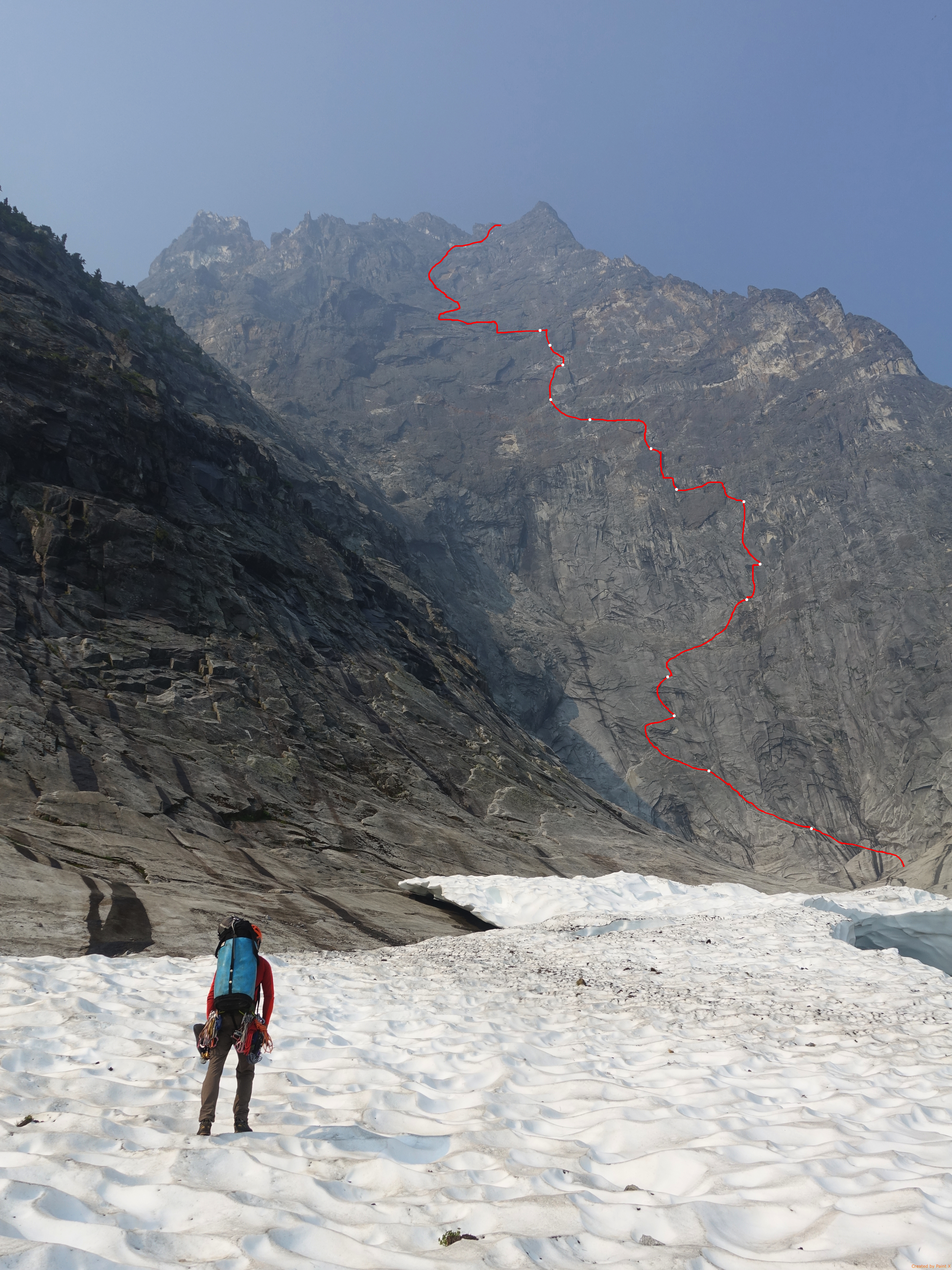 Photo-topo of Welcome to the Wack on the east face of Mt. Slesse.
