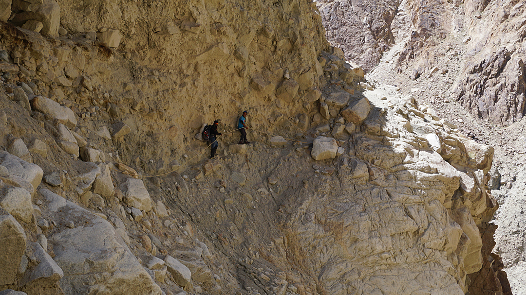 A precarious trail on the descent of the Sakang Lungpa.