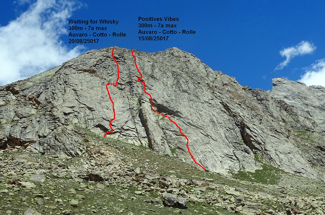 The two new French routes, Waiting for Whisky and Positive Vibes, on the left side of Toro Peak's south face.
