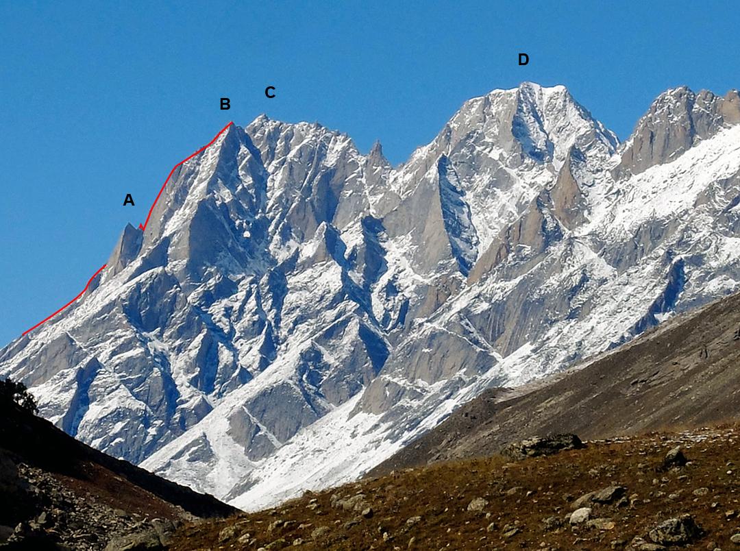 Seen from the Miyar Valley to the south: (A) Lammergeier Spire, (B) Marikula Killa's west top, a.k.a. Miyar Shivling. (C) Marikula Killa. (D) James Peak.