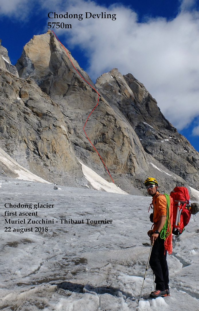 Chodung (Chhudong) Devling on the west side of the upper Chhudong Glacier and the line of the 2017 first ascent via the 700m east face.