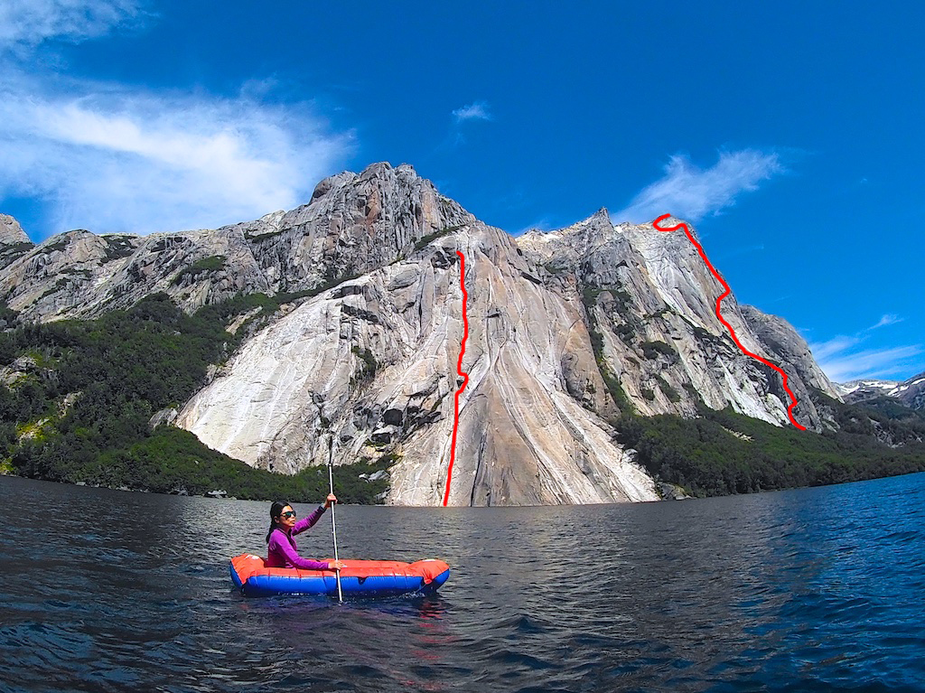 Cerro Esquinero above Lago Huahuahue in Argentina's Nahuel Huapi National Park, showing the two new routes completed by Dave Anderson and Szu-ting Yi in February 2018. The left line is Ice Cream Tempura (490m, 5.10 R C1) and on the right is Rising from the Ashes (880m, 5.11 C1).