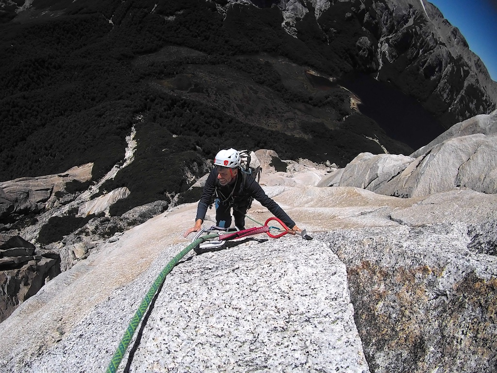 Dave Anderson following the splitter finger-crack crux on Rising From the Ashes (880m, 5.11 C1) on Cerro Esquinero. This was one of two new routes Anderson and his wife, Szu-ting Yi, put up in February 2018.