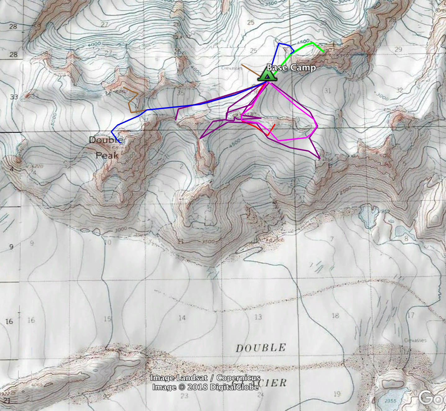 Map of the June 2018 team's ascents and attempts in the Double Glacier area.