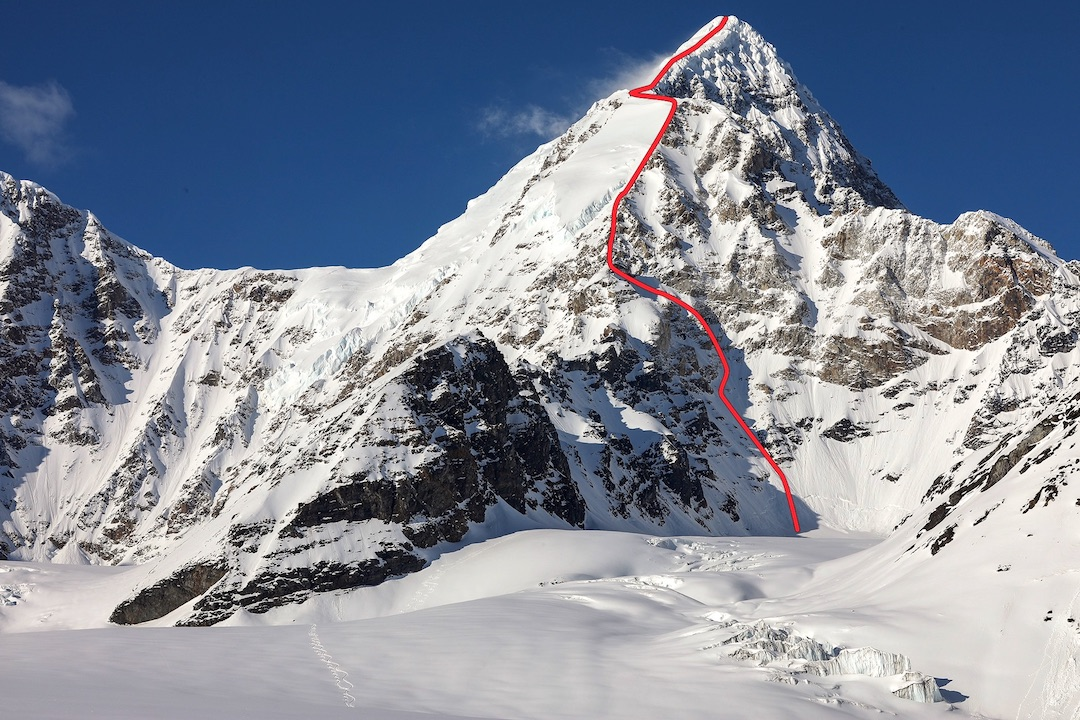 "Mt. Russell's south side, showing the line climbed in 2017. The ""Bavarian Col"" (left) was accessed from the north by the German team that did the first ascent of Russell in 1962. They climbed the face above the col to reach the upper south ridge and the summit."