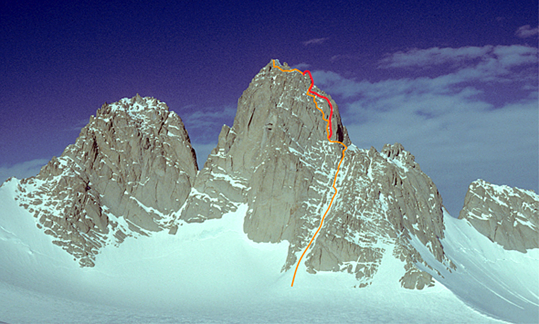 The north side of the Spectre. The orange line is the original Stump route, while the red is the variant climbed in December 2017.