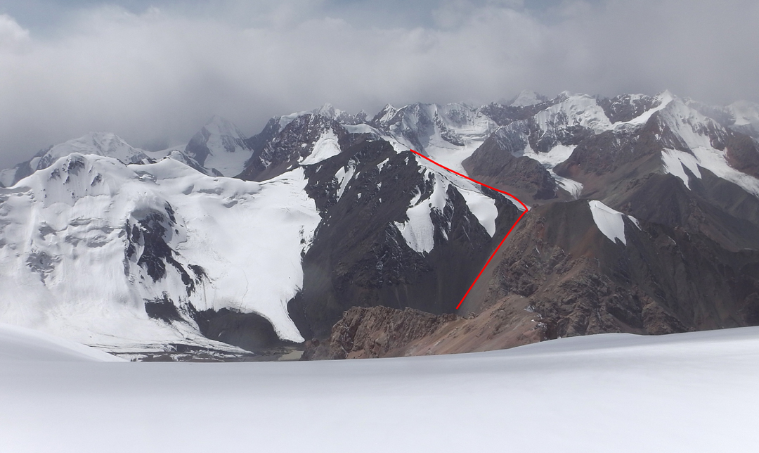 Looking southwest at Pik 4,632.8m (4,625m GPS) and route of ascent via the north ridge. A number of the peaks beyond, at the head and further west of the Kainar Valley, have been climbed by previous expeditions.