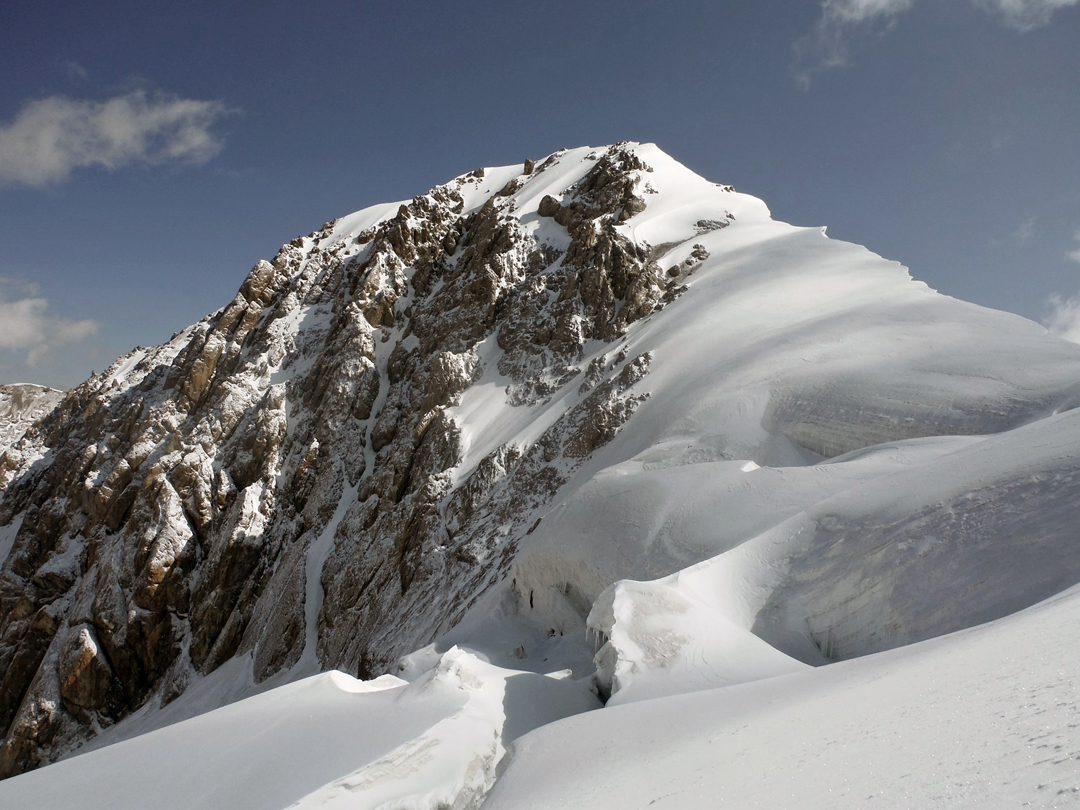 The southwest ridge of Pik 5,044m (5,042m GPS), the route of the first ascent, plus a compelling ice line on the west face.