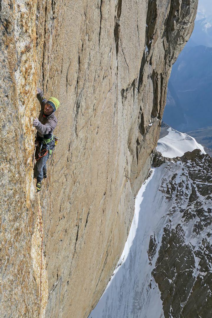 Jozef Kristoffy on the crux pitch (IX+) of Summer Bouquet, west face of Pik Alexander Blok.