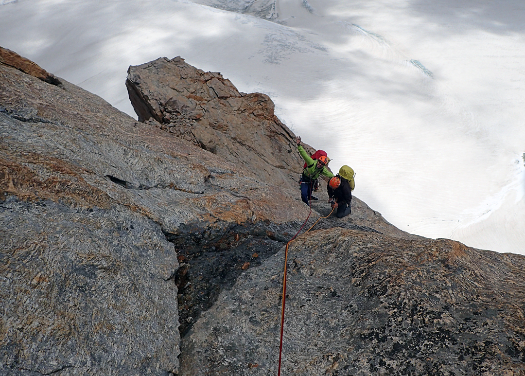 Matjaz Dusic and Tomaz Zerovnik on the lower section of Treasure of Zanskar, southeast ridge of Chakdor Ri.