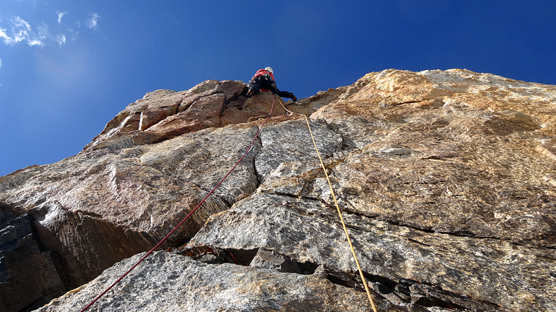 Matic Jost on excellent granite, high on the west face of Jamlang Ri.