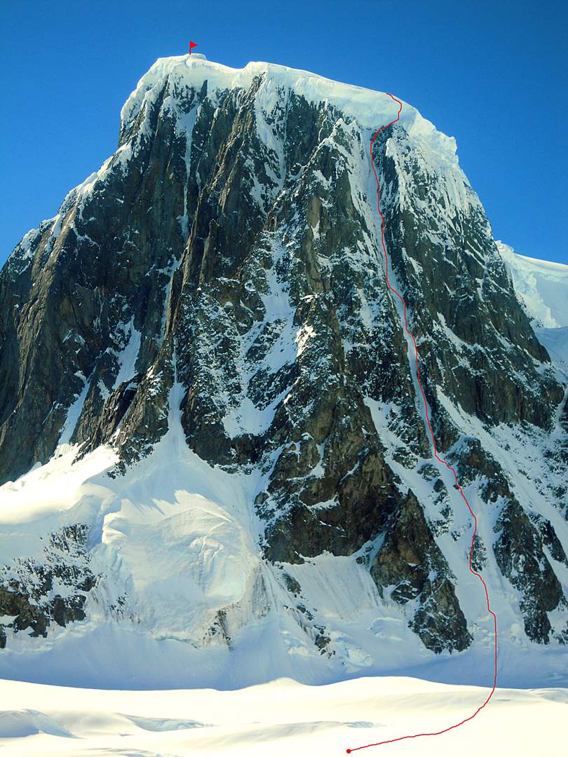 Monte Pizduch, the most southerly peak of the Wall Range, and the line of Bloody Nose on the south-southwest face.