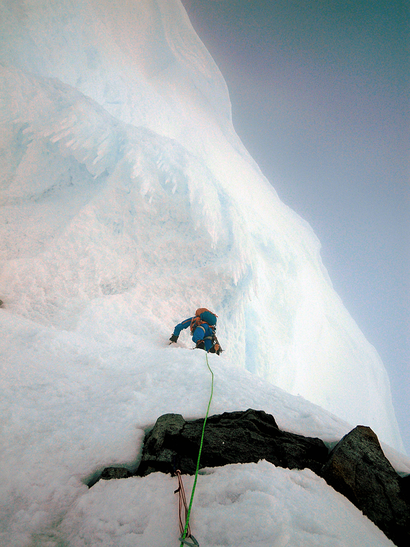 Marek Holecek approaching the huge overhanging summit cornice on Monte Pizduch.