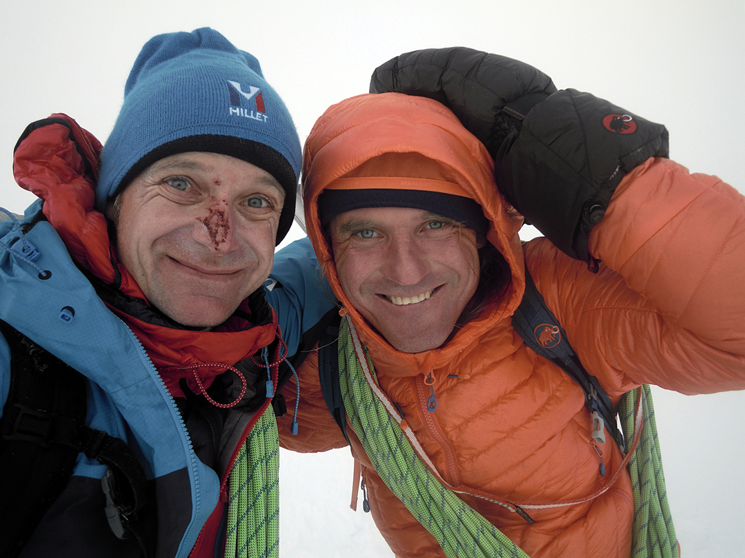 Mira Dub (left) and Marek Holecek after the ascent of Bloody Nose, Monte Pizduch.